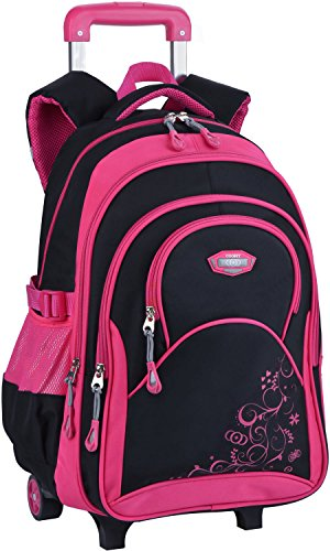 COOFIT Rolling Backpack for Girls Roller Backpack Kids Wheels School Backpack