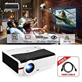 CAIWEI Digital Multimedia HD LCD Projectors 5000 High Lumen Wxga LED Video Gaming Projector Support 1080P 2 HDMI 2 USB Audio AV VGA Built-in Speaker Zoom Keystone for Roku PC DVD Phones TV Stick