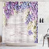Ambesonne Rustic Home Decor Shower Curtain, Lilac Flowers Bouquet on Wood Table Spring Nature Romance Love Theme, Fabric Bathroom Decor Set with Hooks, 70 Inches, Lilac Violet