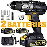 Drill Driver, 20V Cordless Drill 2x2000mAh Batteries, 30Min Fast Charger 4.0A, 29pcs Accessories, 24+1 Torque Setting, 2-Variable Speed Max Torque 530 In-lbs, 1/2' Metal Keyless Chuck