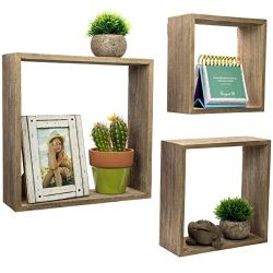 Floating Rustic Wall Shelves: Set of 3 Nested Barnwood Cube Shelves. Wall-Mounted Storage Bookshelf is perfect for home…
