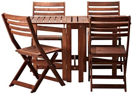 Amazon Com Ikea Applaro Table And 4 Folding Chairs Outdoor Brown Furniture Decor