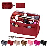 Purse Organzier, Bag Organizer with Metal Zipper (Large, Red)