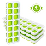 Ice Cube Tray,TOPELEK Easy Release Silicone Ice Cube Tray,14 Ice Molds,Pack of 4,Keep Drink Cool,LFGB Certified,Spill-Resistant Lid Included,Easy to Use and Dishwasher Safe