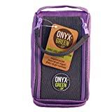 Onyx and Green - Eco-Friendly 2-Zip Pencil Case with Velcro Closure, made from 100% Jute, Purple (7200PL)