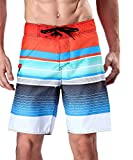 Milankerr Men's Stripe Boardshort Red