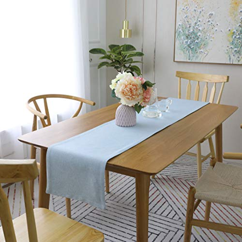 HOME BRILLIANT Dining Table Runner Faux Linen Burlap Living Room Make Up Party Farmhouse Rustic Decoraion Table Runners, 12x72 inch, Blue