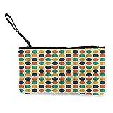 Change purse Polka Dots,Funky Points Nostalgia W8.5'x L4.5',Pouch Zipper Bag for Pens