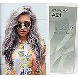 Pack of 1 Box Berina Light Gray Hair Dye A21 Hair Color Cream Dye Light Grey 60 G. Super Permanent Fashion Unisex