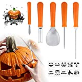 5 Pcs Halloween Pumpkin Carving Kit Tools Stainless Steel Carving Tools with 10 Pcs A4 Size Halloween Patterns