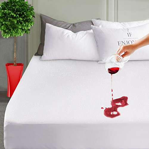 "LEISURE TOWN Mattress Pad Protector Queen100% Waterproof Mattress Pad Cover Breathable Fitted 8""-21"" Deep Pocket"