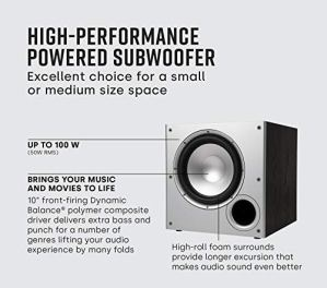 Polk-Audio-PSW10-10-Powered-Subwoofer-Power-Port-Technology-Up-to-100-Watts-Big-Bass-in-Compact-Design-Easy-Setup-with-Home-Theater-Systems-Black
