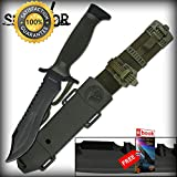 12'' Black Blade Survival Counter Strike CSGO Bowie SHARP KNIFE with ABS Sheath Combat Tactical Knife + eBOOK by Moon Knives