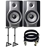M-Audio BX8 Carbon Pair Speaker Studio Monitors for Music Production and Mixing. With Free Speaker Stands and 2 XLR Cables.