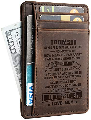 NapaWalli Wife To Husband Father Mother to Son Gift Best Anniversary Christmas Birthday Gifts Slim Wallet (Mother to Son CH coffee)