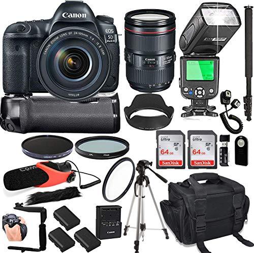 Canon-EOS-5D-Mark-IV-with-24-105mm-f4-L-is-II-USM-Lens-128GB-Memory-Deluxe-Camera-Bag-Pro-Battery-Bundle-Power-Grip-Microphone-TTL-Speed-Light-Pro-Filters-23pc-Bundle