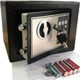 Yuanshikj Electronic Deluxe Digital Security Safe Box Keypad Lock Fireproof Waterproof Home Office Hotel Business Jewelry Gun Cash Use Storage (Black 1)