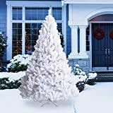 Goplus Artificial Christmas Tree Xmas Pine Tree with Solid Metal Legs Perfect for Indoor and Outdoor Holiday Decoration (8 feet, White)