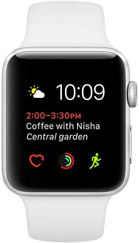 Apple Watch Series 2 (GPS, 38MM) - Silver Aluminum Case with White Sport Band (Renewed)