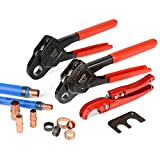 IWISS Combo Angle Head PEX Pipe Crimping Tool Kits Used for 1/2' & 3/4' Pex Crimp with Go/No-Go Gauge with PEX Pipe Cutters suits All US F1807 Standards (IWS-C 1/2'+3/4' PEX Crimping Tool KIt)