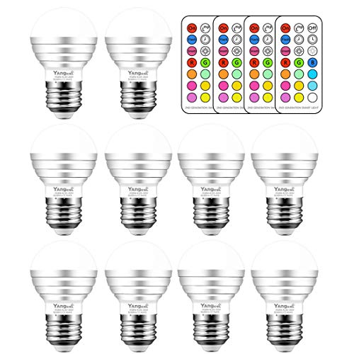 Yangcsl 3W Timing Remote Controller RGBW Color Changing LED Light Bulbs, Double Memory and Wall Switch Control,Daylight White and Color Ambiance Extension (Pack of 10)