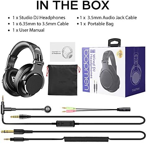 bopmen Computer Headset with Microphone - Wired Gaming Headphones with Boom Mic, On-Line Volume Control & Share-Port Over Ear Headsets for Office PC Laptop Phone Call PS4 Xbox One DJ 18