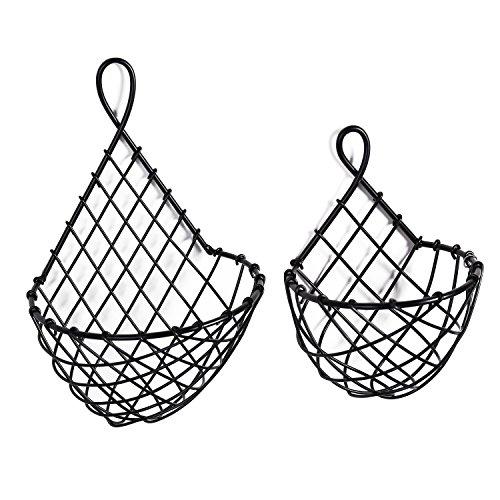 Wall-Mounted Black Metal Fruit Vegetable Baskets, Large & Small Hanging Produce Bins, Set of 2