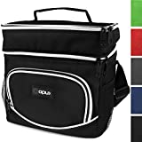OPUX Insulated Dual Compartment Lunch Bag, Double Deck Lunch Box for Men, Women | Leakproof Lunch Tote Cooler for Work, Office, School | Soft Reusable Lunch Pail, Fits 8 Cans (Black)