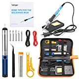Tabiger Soldering Iron Kit 15-in-1, 60W Soldering Iron with Adjustable Temperature, Soldering Gun,5pcs Soldering Iron Tips,Solder,Desoldering Pump,Tweezer,Soldering Stand,Tool Case