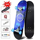 Easy_way Complete Skateboards - Standard Skateboards with Colorful Flashing Wheels for Beginners Starter Kids Boys Girls Youths - 31''x 8''Canadian Maple Cruiser Skate Board,Kids Longboard Skateboards