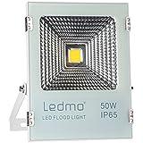 LEDMO 50W LED Flood Lights - Waterproof IP65 LED Light Daylight White 6000K LED Work Light 4000lm 250W Halogen Equivalent LED Spotlight Security Lights Outdoor Lights LED Shop Light for Garage, Garden