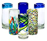 MEXART Artisan Crafted Hand Blown 6 Defferent Design Collection Recycled Glass Shots Glasses, 2 oz. 'Classic' (set of 6)