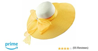 Women's Summer Wide Brim Beach Hats Sexy Chapeau Large Floppy Sun Caps (yellow)