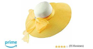 Women's Summer Wide Brim Beach Hats Sexy Chapeau Large Floppy Sun Caps (yellow)