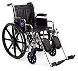 Medline Excel 2000 Wheelchair,18' Wide Seat, Desk-Length Arms, Swing Away Footrests, Chrome Frame