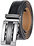 Marino Men's Genuine Leather Ratchet Dress Belt With Automatic Buckle, Enclosed in an Elegant Gift Box - Black and Silver - Adjustable from 28' to 44' Waist