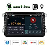 Android 8.1 Oreo Quad-Core Double 2 Din Car Stereo Radio Receiver 8 Inch HD Digital Touch Screen Car DVD Player for Car Volkswagen Head Unit with Bluetooth GPS Navigation CANbus SWC Mirrorlink