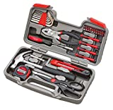 Apollo Tools DT9706 Original 39 Piece General Repair Hand Tool Set with Tool Box Storage Case,Red