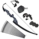 Tongtu Takedown Recurve Bow and Arrows for Adults Set 30 40 lbs Aluminum Alloy Riser Hunting Archery Longbow kit Right Hand (30lbs)
