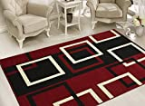 Sweet Home Stores BCF1700-8X10 Modern Boxes Design Area Rug, 7'10' x 9'10', Dark Red