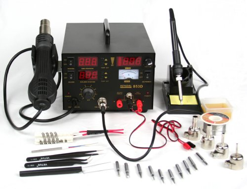 Kendal 853D 4 IN 1 SMD HOT AIR REWORK & SOLDERING IRON STATION/DC POWER SUPPLY & DC TEST METER