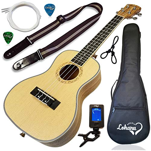 Ukulele from Lohanu Spruce Top Zebra Wood Sides & Back With All Accessories Included! (Concert Size)