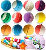 12 Bath Bombs, STNTUS Handmade Organic Spa Bubble Bombs Set, Floating Fizzies with Relaxation and Moisturizing, Perfect Valentines Birthday Christmas Gift for Women, Kids