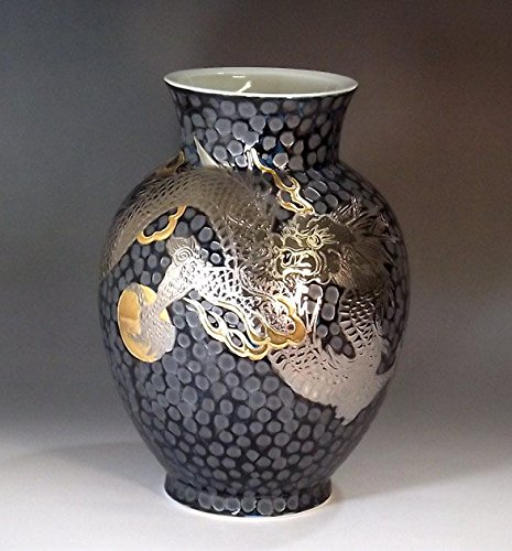 Arita - Imari pottery vase Platinum Dragon | gifts for men