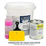 ArmoGlaze Odorless Bathtub Refinishing Kit, Made in USA, Pour-On Application, Mirror Gloss Finish, White