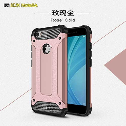 Covers for Xioami Redmi Note 5A,Dual Layer Heavy Duty Hybrid Armour Tough Style Shockproof PC+TPU Protective Hard Case for Xioami Redmi Note 5A (Color : Rose Gold)