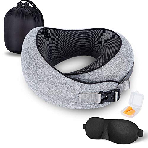 MZYSKJ Travel Pillow 100% Pure Memory Foam Neck Pillow, Comfortable & Breathable Cover,Ergonomic Design Ultra Soft Full Neck Chin Support Adjustable, 3D Contoured Sleep Mask, Earplugs, Gray