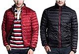 CHERRY CHICK Reversible Men's Light Weight Puffer Down Jacket (X-Large, Dark Red-Black)