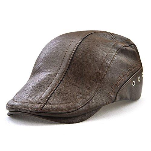 ff388ae8d707a King Star Men Flat Cap PU Leather Vintage Newsboy Cap Ivy Driving Hunting  Caps
