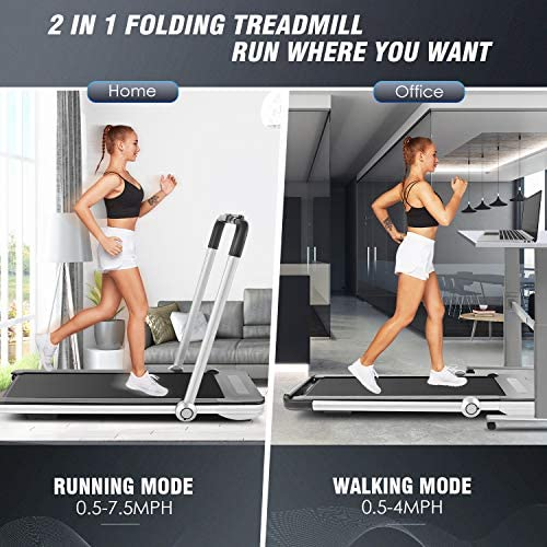 FUNMILY 2 in 1 Under Desk Folding Treadmill, 2.25HP Walking Running Machine with Bluetooth Speaker, Remote Control, Built-in 5 Modes & 12 Programs, Installation-Free, 2020 Model 2